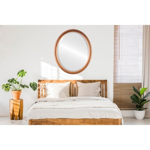 Pasadena Framed Oval Mirror in Sunset Gold
