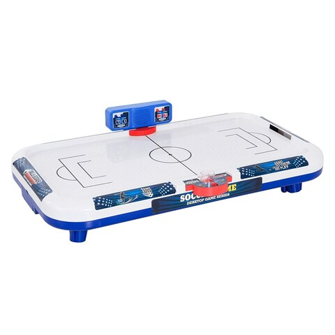 "Aosom 40"" Mini Portable Electronic Kids Soccer Themed Air Hockey Tabletop Game - White / Blue"