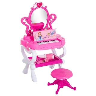 Qaba 2-In-1 Kids Pretend Play Set Piano Princess Vanity Table With Lights, Sounds, And Accessories  Pink / White - HOT PINK