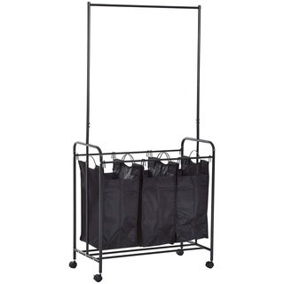 HomCom 3 Bag Heavy Duty Divided Laundry Hamper Sorter Cart With Wheels And Hanging Bar - Black