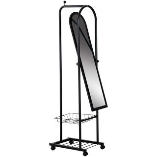 """HomCom 41"""" Tall Freestanding Metal Mirror With Clothes Rack And Basket - Black"""