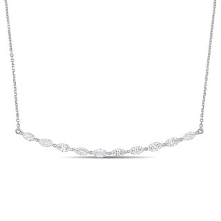 Miadora 14k White Gold 1-1/5ct TDW Diamond Marquise Stationed Bar Necklace