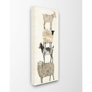 The Stupell Home Décor Collection Fun Stacked Sheep and Goats Farm Animals, Canvas, 10 x 1.5 x 24, Made in the USA - Multi-color