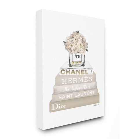 The Stupell Home Décor Collection High Fashion Bookstack with Tan Flowers, Canvas, 16 x 1.5 x 20, Made in the USA - Multi-color