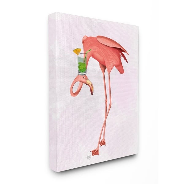 Shop The Stupell Home Decor Collection Luau Tipsy Turvy Pink Flamingo And Cocktail Canvas 16 X 15 20 Made In USA