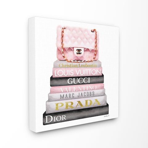 The Stupell Home Décor Collection Watercolor High Fashion Bookstack Padded Pink Bag, Canvas, 17 x 1.5 x 17, Made in the USA