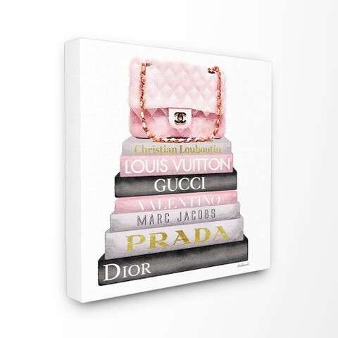 c13500636050 The Stupell Home Décor Collection Watercolor High Fashion Bookstack Padded  Pink Bag, Canvas, 17