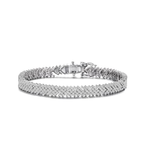 Collette Z Sterling Silver with Rhodium Plated Clear Round Cubic Zirconia Cluster Arrow Head Style Tennis Bracelet