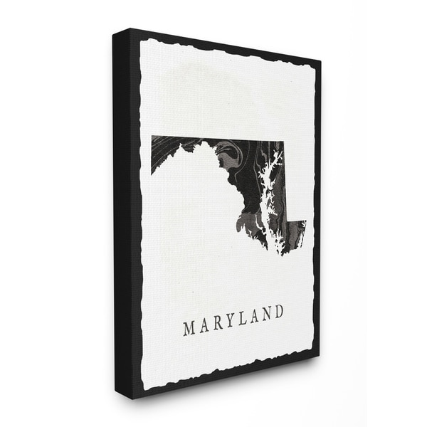The Stupell Home Decor Collection Black And Grey Marbled Paper Maryland State Canvas 16