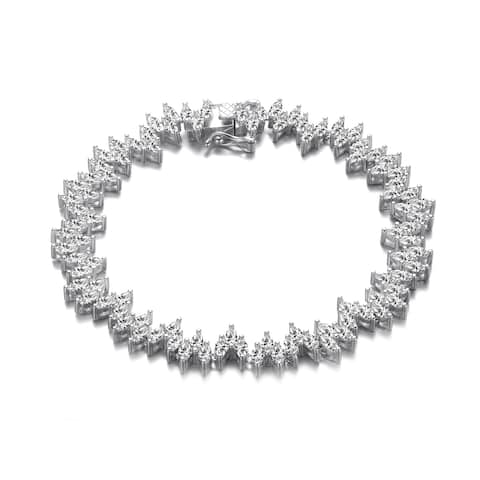 Collette Z Sterling Silver with Rhodium Plated Clear Marquise Cubic Zirconia 3-Stone Link Tennis Bracelet