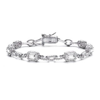 Collette Z Sterling Silver with Rhodium Plated Clear Emerald with Round Cubic Zirconia Halo Chain Link Bracelet