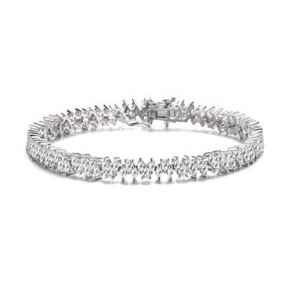 Collette Z Sterling Silver with Rhodium Plated Clear Pear and Marquise Cubic Zirconia 3 Stone Link Tennis Bracelet