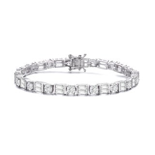 Collette Z Sterling Silver with Rhodium Plated Clear Round and Emerald Cubic Zirconia Two-Row Tennis Bracelet