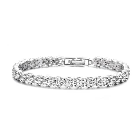 Collette Z Sterling Silver with Rhodium Plated Clear Marquise Cubic Zirconia Three-Row Horizontal Bracelet