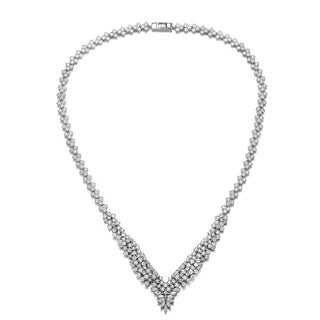 Collette Z Sterling Silver with Rhodium Plated Clear Princess with Round and Marquise Cubic Zirconia Cluster Accent Necklace