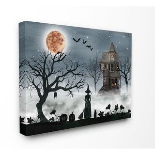 The Stupell Home Décor Collection Halloween Witch in Full Moon Haunted House Scene, Canvas, 16 x 1.5 x 20, Made in the USA