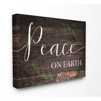 The Stupell Home Décor Collection Peace On Earth Planked , Canvas, 16 x 1.5 x 20, Made in the USA - Multi-color