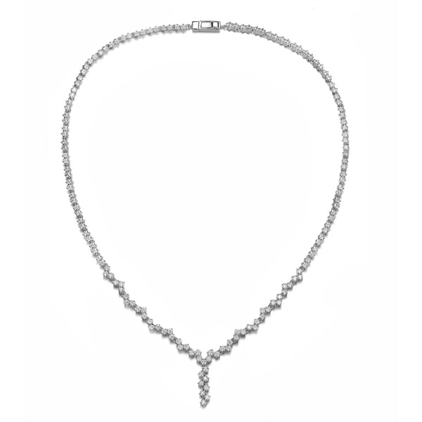 Collette Z Sterling Silver with Rhodium Plated Clear Princess Cubic Zirconia ZigZag Style Necklace. Opens flyout.