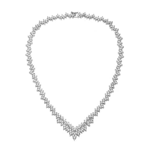 Collette Z Sterling Silver with Rhodium Plated Clear Marquise Cubic Zirconia Cluster Necklace