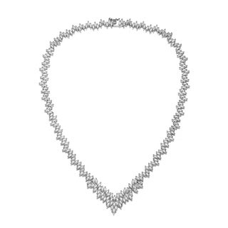 Link to Collette Z Sterling Silver with Rhodium Plated Clear Marquise Cubic Zirconia Cluster Necklace Similar Items in Necklaces