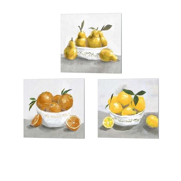 Isabelle Z 'Pears, Lemons & Oranges' Canvas Art (Set of 3)