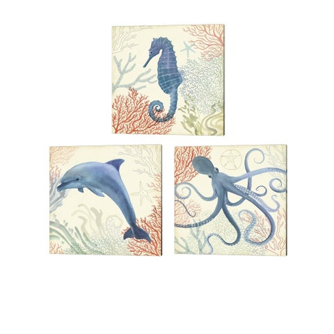 Victoria Borges 'Underwater Whimsy' Canvas Art (Set of 3)