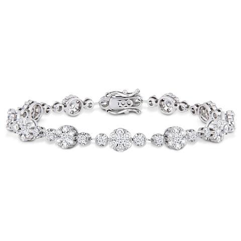 Miadora 18k White Gold 4-1/6ct TDW Diamond Floral Station Bracelet