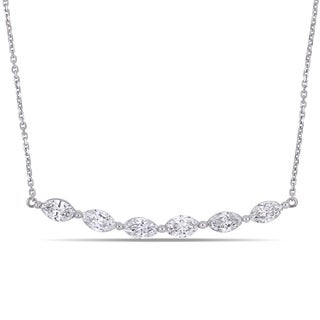 Miadora 14k White Gold 1-1/3ct TDW Diamond Marquise Stationed Bar Necklace