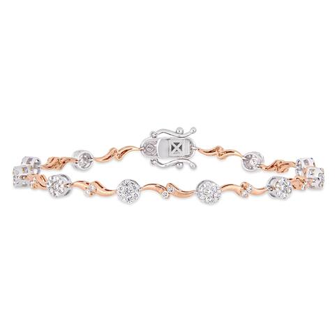 Miadora 2-Tone 18k White and Rose Gold 1-1/5ct TDW Diamond Station Bracelet