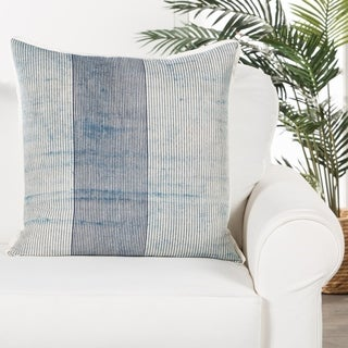 Route Handmade Stripe Blue/ White Poly Throw Pillow 22 inch
