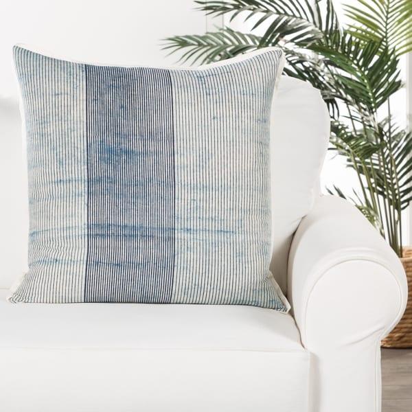 Route Handmade Stripe Blue/ White Down Throw Pillow 22 inch