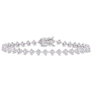 Miadora 18k White Gold 1-1/3ct TDW Diamond Tennis Link Bracelet