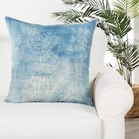 Glacia Handmade Soild Blue/ White Poly Throw Pillow 22 inch