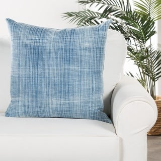 Tonquin Handmade Soild Blue/ White Down Throw Pillow 22 inch
