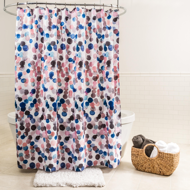 Shop Black Friday Deals On Splash Home Splish Polyester Fabric Shower Curtain 70 X 72 Blue Pink Overstock 23042010