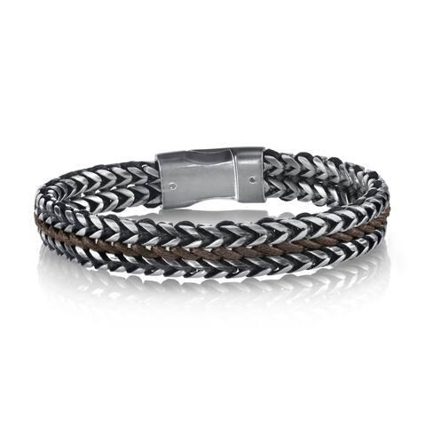 SPARTAN Black and Brown Corded Stainless Steel Men's Bracelet