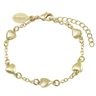 Luxiro Gold Finish Children's Flat Hearts Bracelet