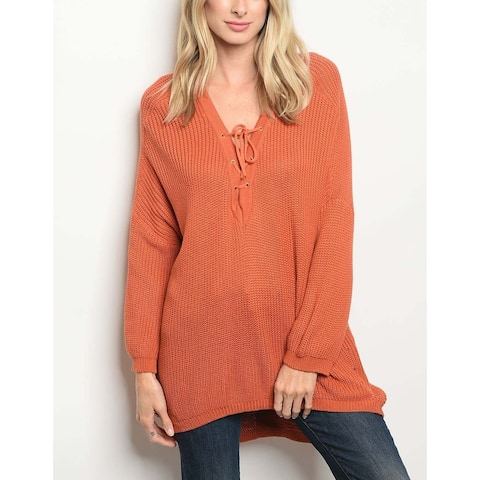 JED Women's Lace Up Relax Fit Tunic Cotton Knit Sweater