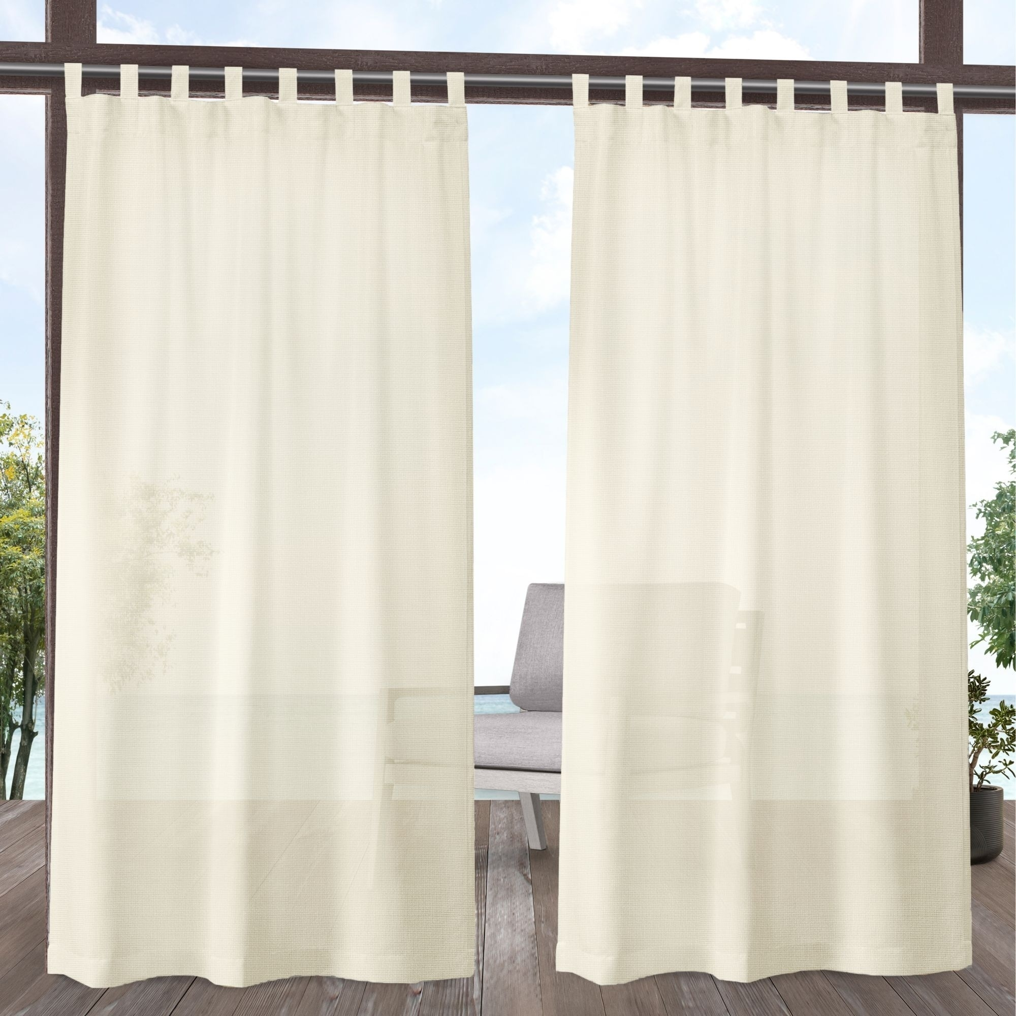 54 X 84 Outdoor Decor Escape Water Repellent Sheer Outdoor Curtain Ivory Patio Lawn Garden Outdoor Curtains