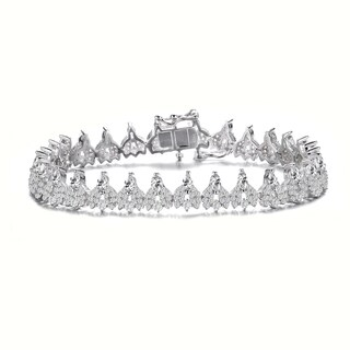 Collette Z Sterling Silver with Rhodium Plated Clear Marquise and Round Cubic Zirconia Cluster Tennis Bracelet