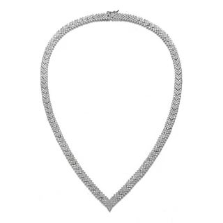 Collette Z Sterling Silver with Rhodium Plated Clear Round Cubic Zirconia Cluster Arrow Head Style Necklace