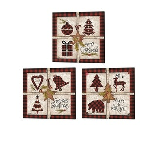 Linda Spivey 'Four Square Christmas' Canvas Art (Set of 3)