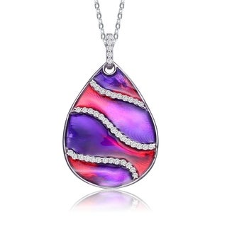 Collette Z Sterling Silver With Rhodium Plated Clear Round Cubic Zirconia Red Purple Swirl Enamel Glass Pear Drop Necklace
