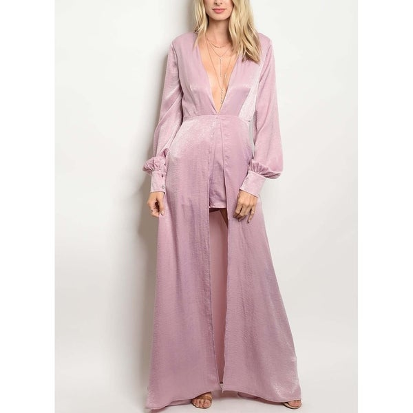 Shop JED Women s Long Sleeve Mauve Dress Romper - On Sale - Free Shipping  On Orders Over  45 - Overstock.com - 23042582 22c33e7e00
