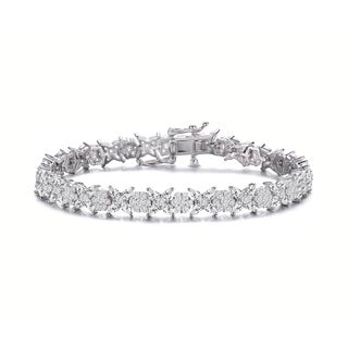 Collette Z Sterling Silver with Rhodium Plated Clear Round and Pear Cubic Zirconia Cluster Flower-Inspired Tennis Bracelet