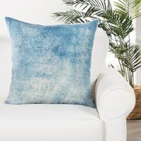 Glacia Handmade Soild Blue/ White Down Throw Pillow 22 inch