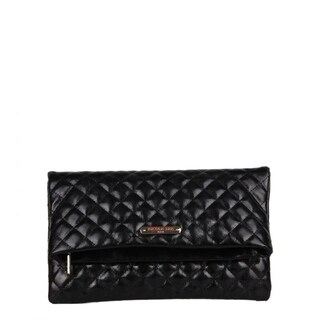 Nicole Lee Quilted Fold Over Metallic Clutch