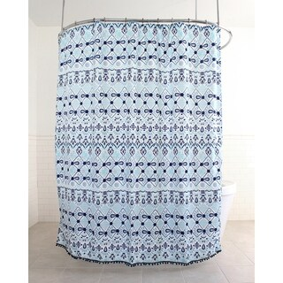 "Splash Home Inca Polyester Fabric Shower Curtain, 70"" x 72"", Aqua"