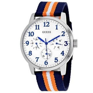 Guess Men's W0975G2 'Brooklyn' Multi-Function Blue and Orange Nylon Watch