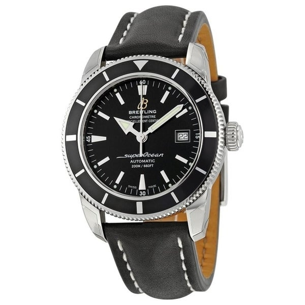 Breitling Men's A1732124-BA61-435X 'Superocean Heritage 42' Automatic Black Leather Watch. Opens flyout.
